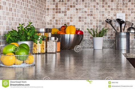 kitchen countertop  food ingredients  herbs stock