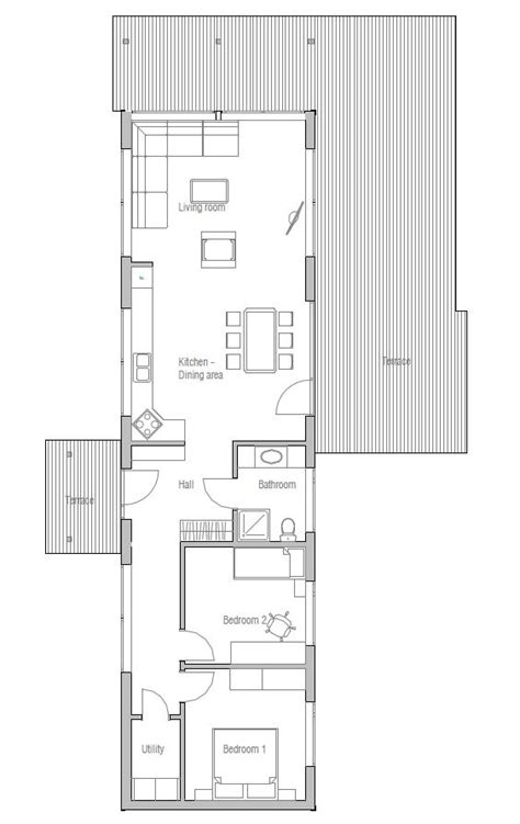 Narrow Home Plans by Small House Plan Two Bedrooms Suitable To Narrow Lot