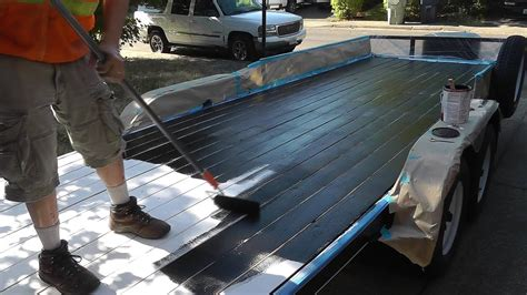 iron armor bed liner painted  wood trailer youtube