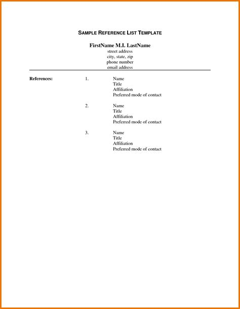Reference List Format Template by 8 List Of References Template Itinerary Template Sle