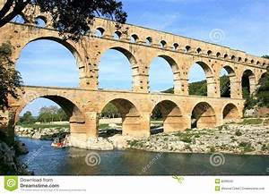 French Roman Aqueduct Named Pont Du Gard Stock Photo ...