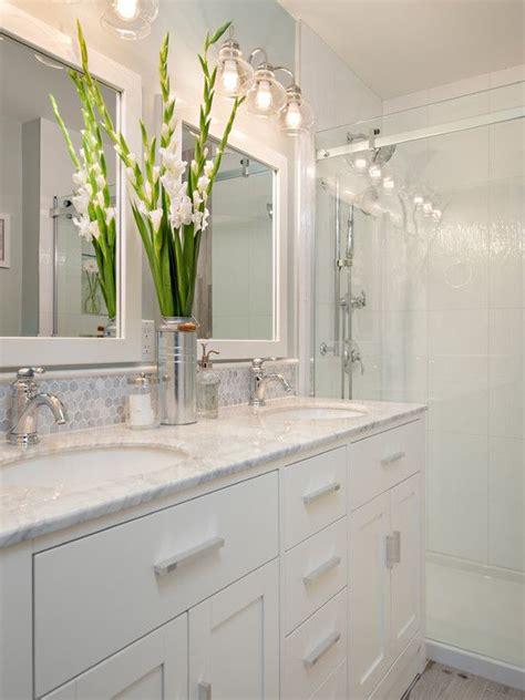 bathroom   stacked wall tiles white vanity