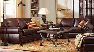 Brockett brown leather 5 pc living room leather living for Eurodesign brown leather 5 piece sectional sofa set