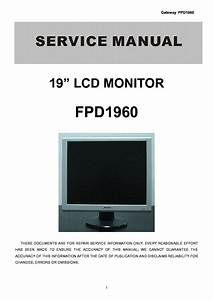 Gateway Fpd1965 Lcd Monitor Service Manual Service Manual