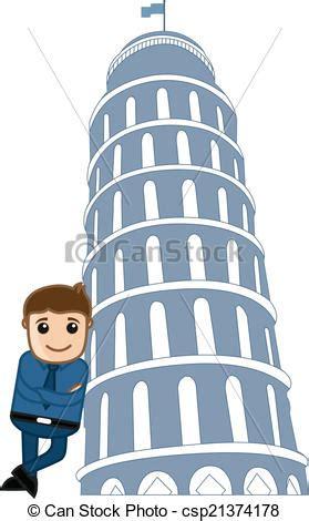 toren van pisa tekening staand toren pisa man toren vector pisa illustratie