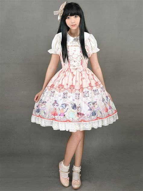 cute lolita dress sweet lace  chinese style circus cats