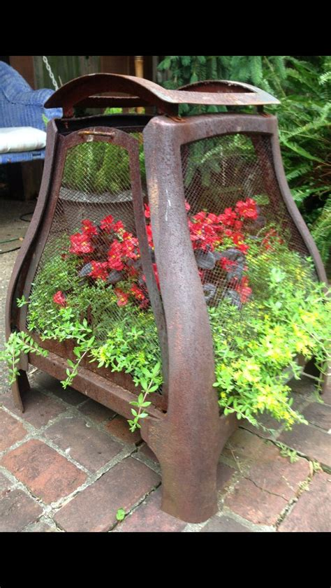 Upcycled Fire Pit Made Into Planter  Renaissance Gypsy