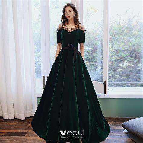 Elegant Dark Green Velour Winter Evening Dresses 2020 A ...