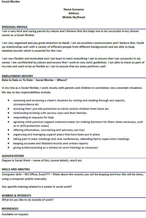 Curriculum Vitae Of A Social Worker by Social Worker Cv Exle Icover Org Uk