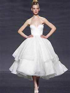 retro 50s strapless organza tiered tea length tulle With strapless tea length wedding dress