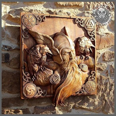 odin   ravens  fine wood carving ancient treasures