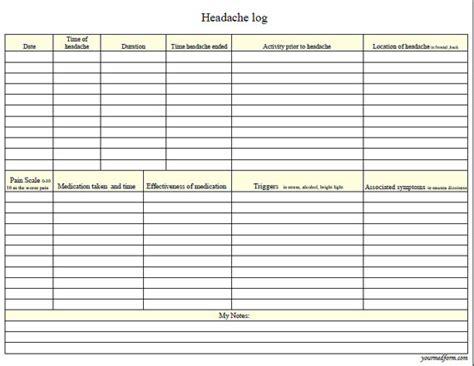 fillable digital headache log pdf digital health forms