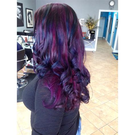Deep Purple And Midnight Blue Curls Hair Colors Ideas