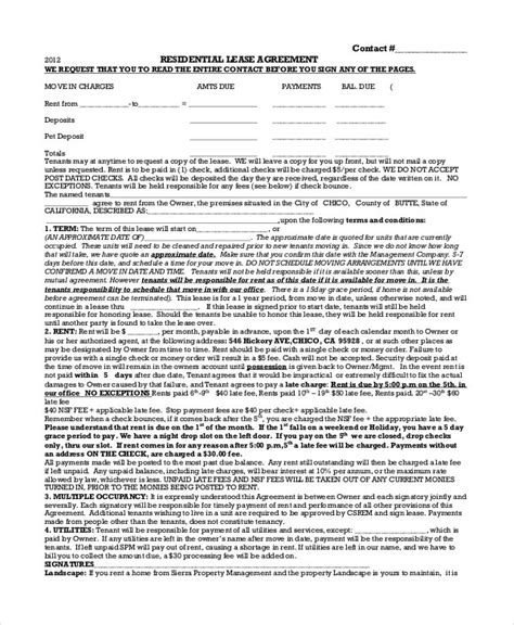 house lease agreement    documents