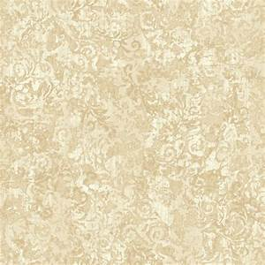 Gold and Cream Layered Scroll Wallpaper