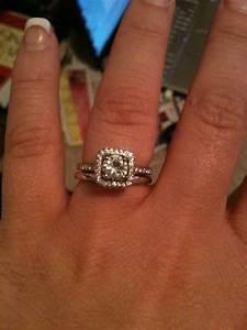 plain wedding bands anyone weddingbee With halo engagement ring with plain wedding band