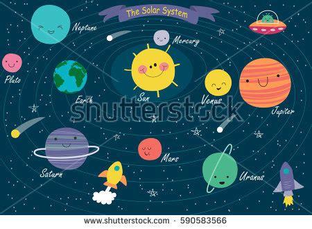 Solar System Vector Illustrations Planets Stock
