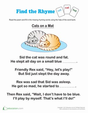 find words that rhyme worksheets activities and