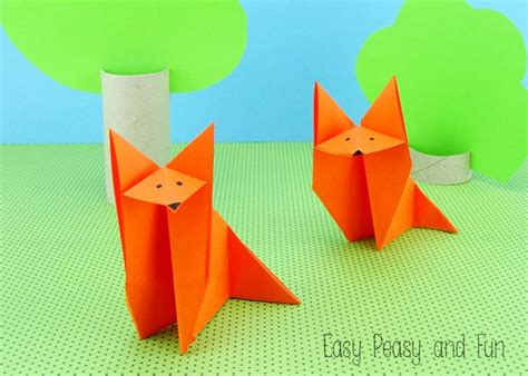 origami fox origami  kids easy peasy  fun
