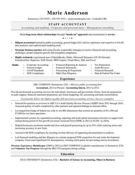 accounting resume sle