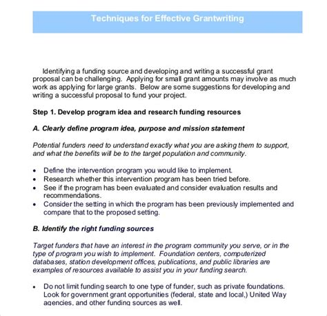grant writing templates  sample  format