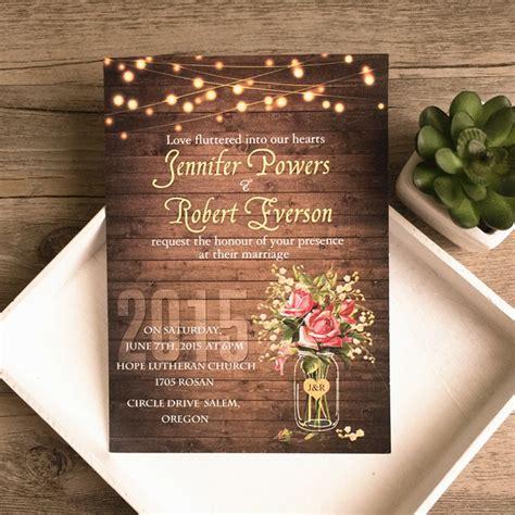 jar lights rustic wedding invitations