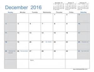 december 2016 calendar when is calendar