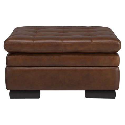 Brown Leather Ottoman by Trevor Medium Brown Leather Storage Ottoman