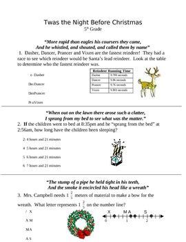 christmas worksheets math 5th grade 5th grade twas the night before christmas math activity