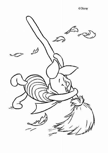 Coloring Pooh Winnie Piglet Pages Wind Flying