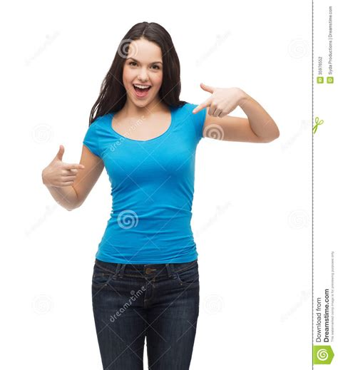 smiling girl  blank blue  shirt stock photography