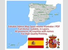 Spain Map Admin Vector Illustrator Editable PDF Provinces