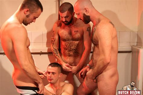 bears have a group scene in the bathroom with tight ass fucking and cumshots all over the bottom