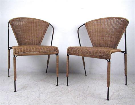 set of mid century modern wicker seat umanoff style dining