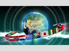 Full HD Loopable Globe With ALL Countries Flags Stock
