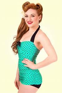 Daxon Maillot De Bain : maillot de bain 1 pi ce sculptant r tro ann es 50 pois bleu vert maillots de bain ~ Melissatoandfro.com Idées de Décoration