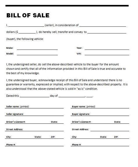 Vehicle Bill Of Sale Template Car Bill Of Sale Template