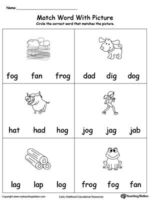 og word family workbook  kindergarten