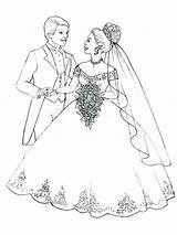 Coloring Pages Veil Couple Brides Bride Groom Flowers Printable Bouquet Getcolorings Prepare Throw Flo sketch template