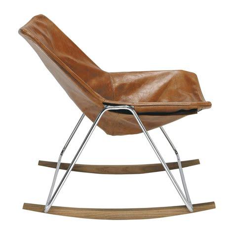 leather rocking chair  brandy colour  maisons du monde