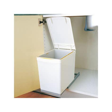 poubelles de cuisine encastrables poubelle rectangulaire 1 bac 16l blanc