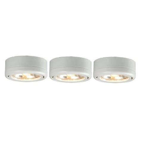 home depot under cabinet lighting commercial electric 3 light white under cabinet puck kit