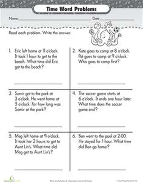 telling time  pinterest telling time word problems