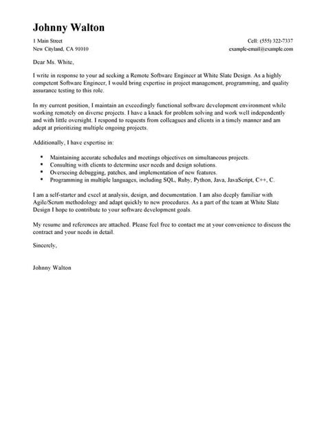 Service Engineer Cover Letter by Outstanding Remote Software Engineer Cover Letter Exles