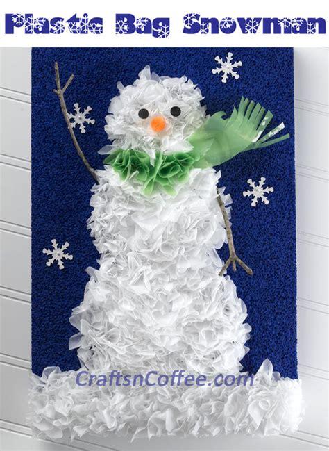 recycled plastic bag snowman portrait favecraftscom