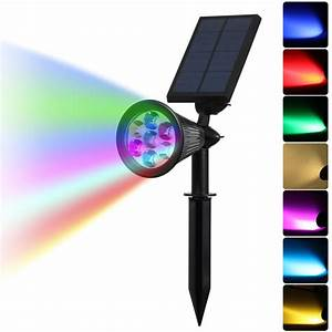 Led auto color changing solar spotlight outdoor lighting