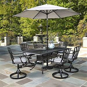 Home styles largo 7 piece outdoor patio dining set with for Patio dining sets with umbrella