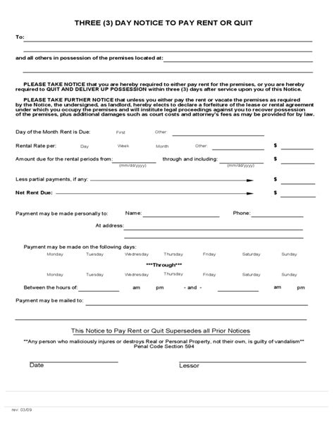 3 day notice to pay or quit template california 3 day notice to pay rent or quit free