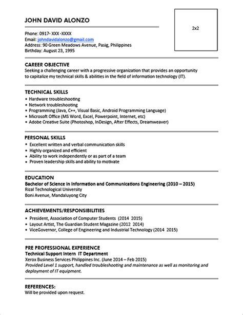 resume templates    jobstreet philippines