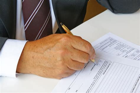 Man Filling A Form Stock Image Image Of Signature, Hand